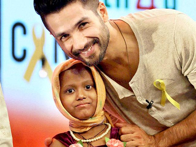Bollywood actor Shahid Kapoor during the Cancerthon, an initiative to raise funds for the support of the treatment of children and young adults battling Cancer, in Mumbai on Sunday. (PTI Photo)