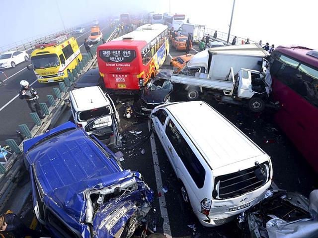 Two die, 12 injured as 13 vehicles collide on NH 71