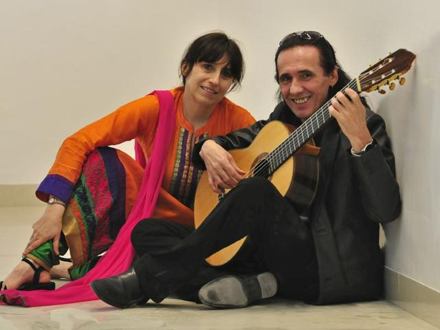 Artist-Nathalie-Marin-and-Serge-Lopez-at-Alliance-Frances-in-sector-36-Gurpreet-Singh-HT