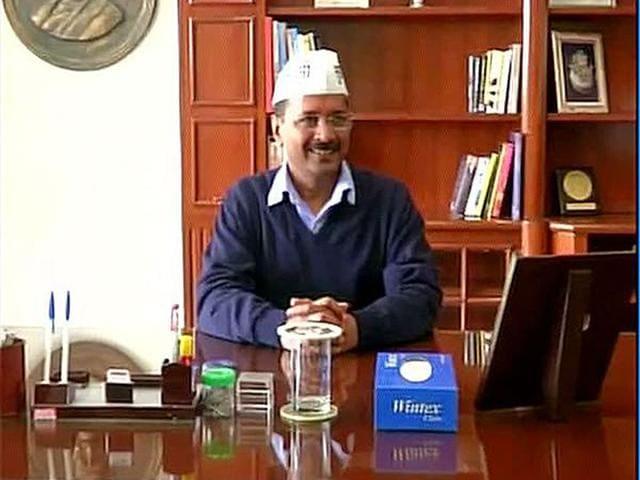 Chief minister Arvind Kejriwal at his Delhi Secretariat office. (ANI photo)