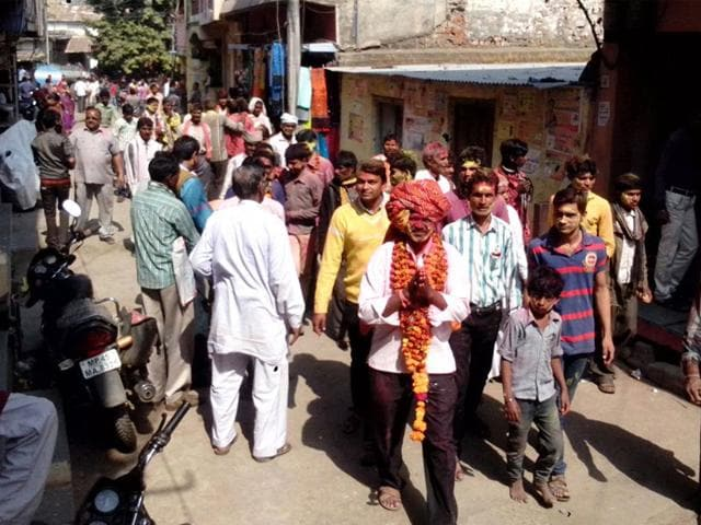 Ramesh-Bariya-a-former-ASI-during-the-victory-procession-after-wining-the-sarpanch-elections-at-a-village-in-Jhabua-HT-file-photo