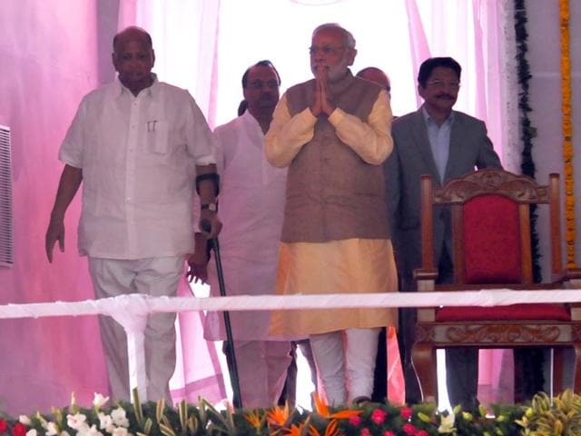 Prime-Minister-Narendra-Modi-and-NCP-chief-Sharad-pawar-share-stage-at-Baramati-Maharashtra-HT-photo
