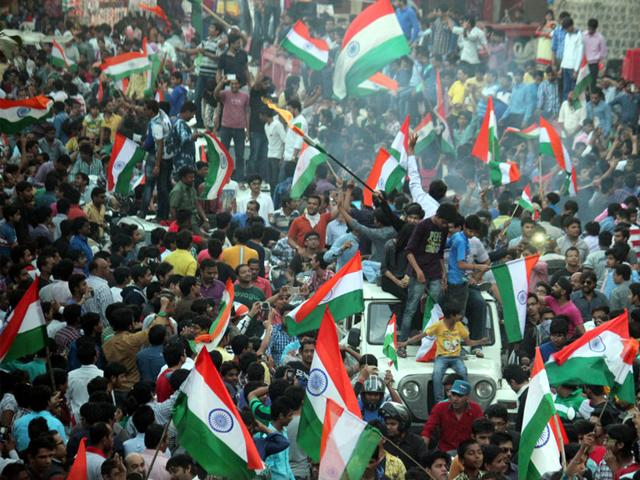 Cricket-enthusiasts-in-Indore-celebrate-India-s-victory-in-the-match-between-India-and-Pakistan-on-Sunday-Shankar-Mourya-HT-photo