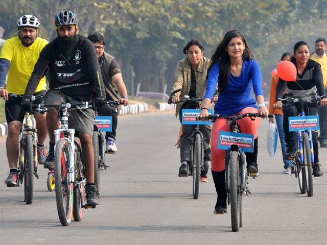 City-residents-participating-in-a-cycling-event-as-part-of-Raahgiri-Day-held-at-Sector-42-New-Lake-in-Chandigarh-on-Sunday-Keshav-Singh-HT