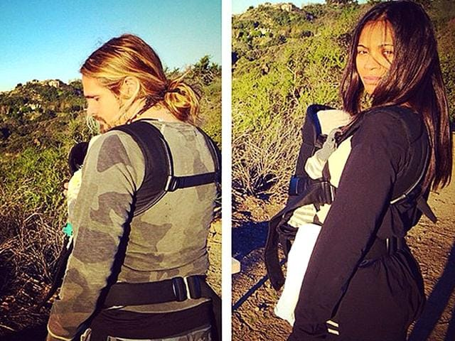 On-February-13-actor-Zoe-Saldana-posted-this-double-snap-on-Instagram-of-her-and-husband-Marco-Perego-hiking-in-the-hills-near-their-Los-Angeles-home-with-their-twin-boys-strapped-to-their-chests