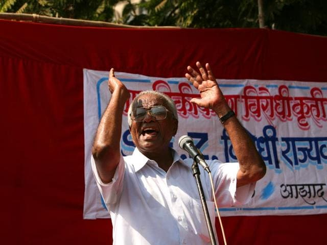 A-file-photo-of-CPI-leader-Govind-Pansare-at-a-protest-rally-against-the-Maharashtra-government-s-SEZ-land-policy-at-Azad-Maidan-HT-photo