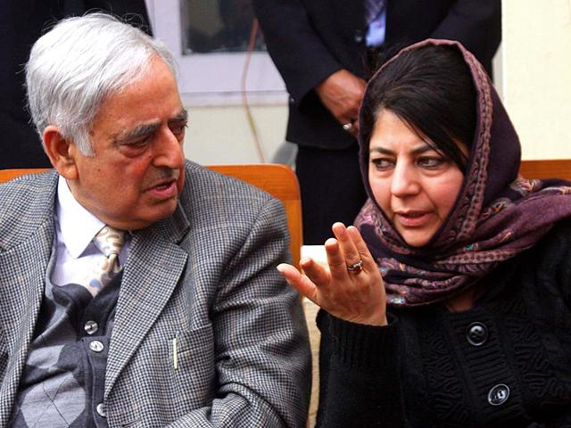 PDP-patron-Mufti-Mohammad-Saeed-along-with-party-president-Mehbooba-Mufti-during-a-working-commitee-meeting-at-the-PDP-office-in-Jammu-Nitin-Kanotra-HT-file-photo