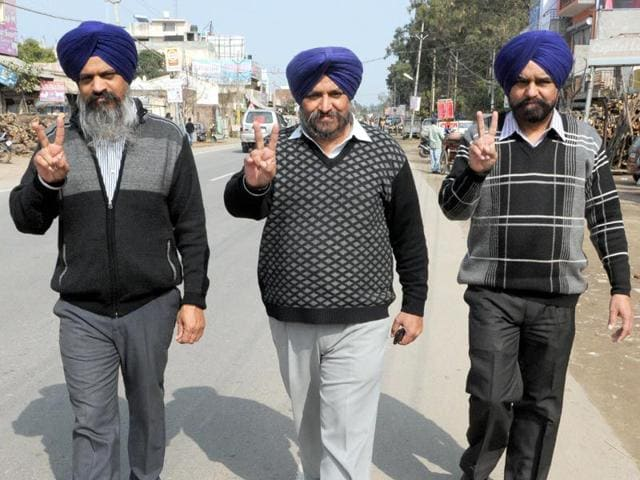 The-Karwal-brothers-from-right-Charanjit-Singh-Darshan-Singh-and-Raninder-Singh-are-contesting-from-Adampur-in-Jalandhar-district-Pardeep-Pandit-HT