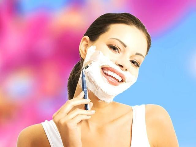 women shaving faces