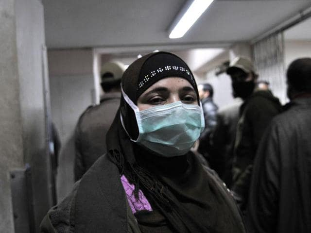 A-women-with-a-protective-mask-inside-the-Sher-e-Kashmir-Institute-of-Medical-Sciences-hospital-in-Srinagar-Waseem-Andrabi-HT