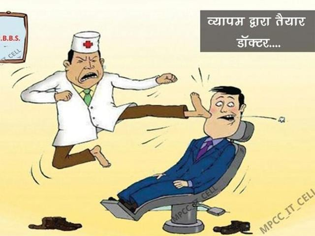 A-cartoon-released-by-the-Congress-shows-a-dentist-kicking-the-patient-to-extract-the-tooth-as-he-has-no-practical-knowledge-of-his-subject-The-party-s-IT-teams-have-been-asked-to-raise-different-aspects-of-the-alleged-scam-HT-photo