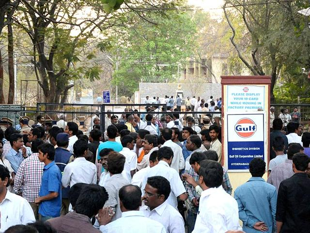 People-gather-outside-Gulf-Oil-Corporation-Ltd-office-where-two-workers-were-killed-and-13-others-injured-after-an-explosion-in-Hyderabad-PTI-Photo