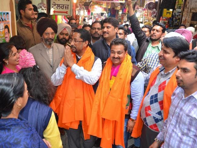 Local-bodies-minister-and-BJP-leader-Anil-Joshi-centre-campaigning-for-the-municipal-council-election-in-Tarn-Taran-on-Monday-Sameer-Sehgal-HT