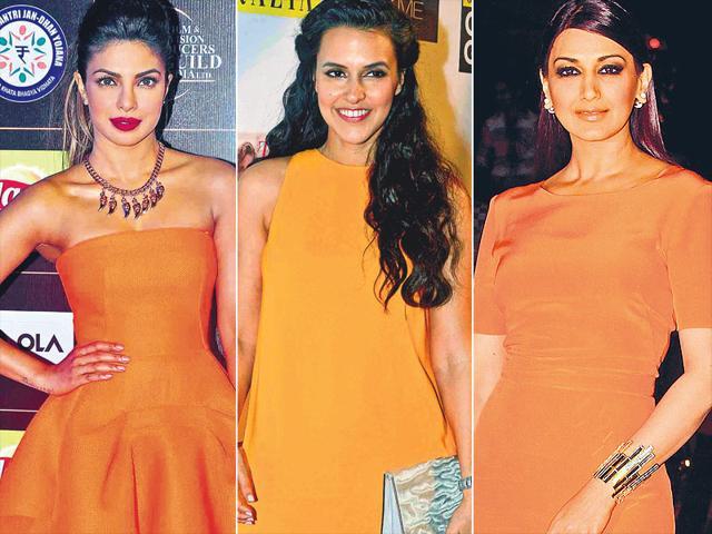 tangerine fashion trend,how to wear tangerine,priyanka chopra