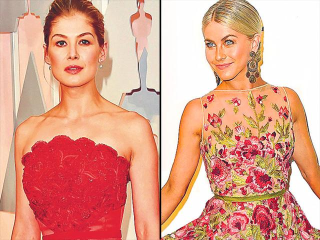 Style-bloom-Florals-were-in-full-bloom-at-the-Oscar-red-carpet-Actor-Rosamund-Pike-L-looked-red-hot-in-a-floral-lace-Givenchy-gown-Dancer-singer-Julianne-Hough-R-wore-a-floor-grazing-gown-with-cheery-floral-embroidery