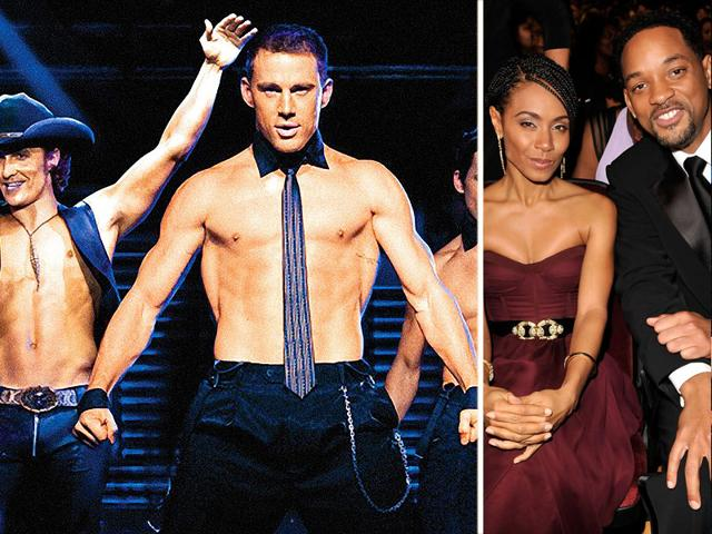 Left-Magic-Mike-XXL-a-film-about-male-strippers-starring-Channing-Tatum-Matt-Bomer-Joe-Manganiello-and-Kevin-Nash-among-others-Right-Hollywood-star-Will-Smith-with-wife-Jada-Pinkett