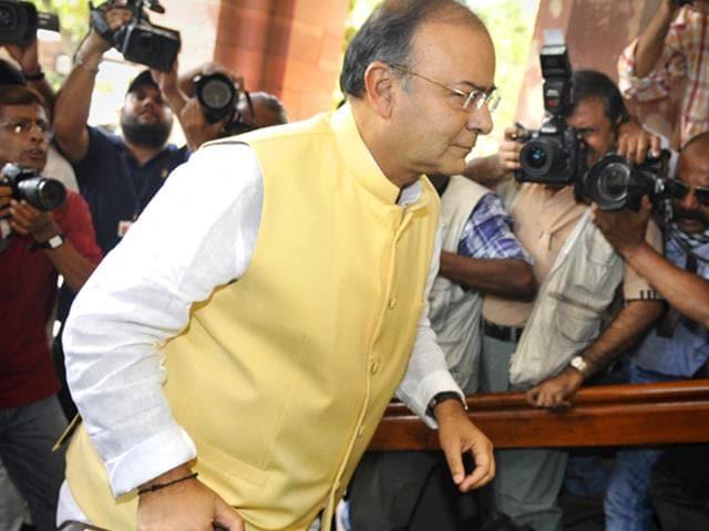 Finance-minister-Arun-Jaitley-entering-Parliament-House-to-present-Union-Budget-2014-15-Sonu-Mehta-HT-File-Photo