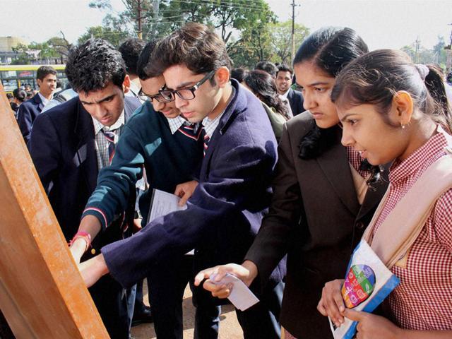 Schoolchildren-take-the-Class-12-board-exam-at-St-Paul-School-in-Indore-on-Monday-Arun-Mondhe-HT-photo