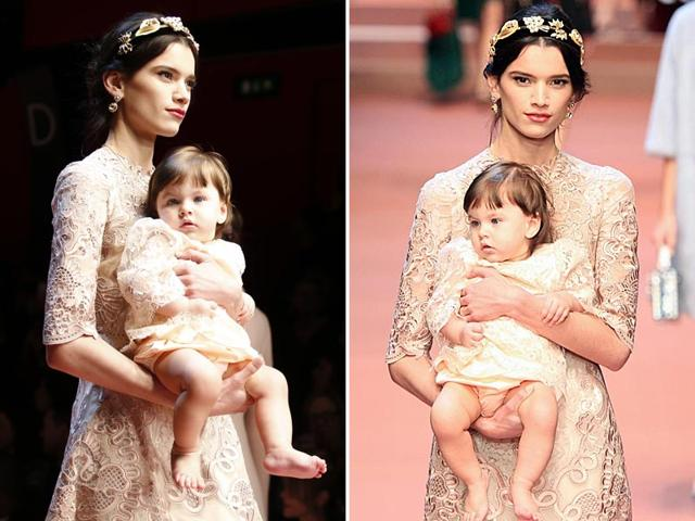 The Italian brand's designers, Domenico Dolce and Stefano Gabbana, paid tribute to motherhood in its Viva la Mamma runway presentation. (Reuters)