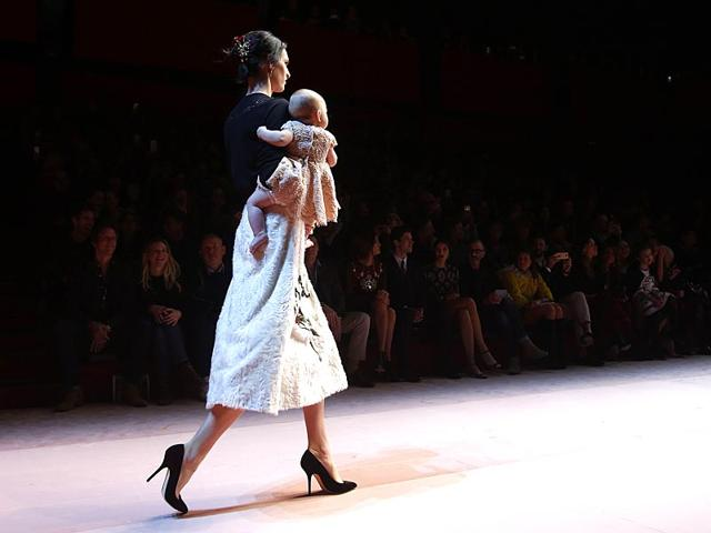 The children in the show also wore designs from Dolce & Gabbana. (Reuters)