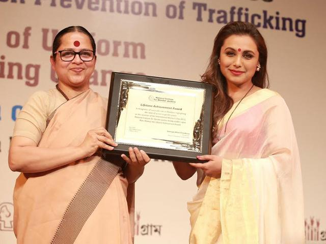 Rani Mukerji receives National Award for the Best Representation of the Cause of Safety, Security and Protection of Women. (HT Photo)