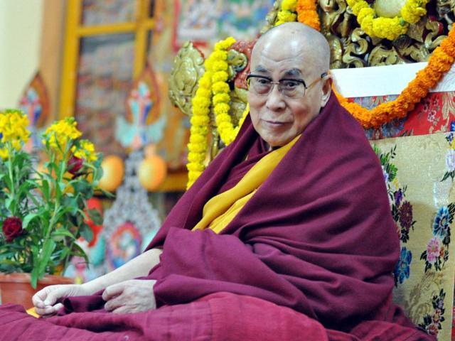 Tibetan-spiritual-leader-the-Dalai-Lama-at-the-main-Tibetan-Tsuglagkhang-temple-at-Mcleodganj-near-Dharamsala-Shyam-Sharma-HT