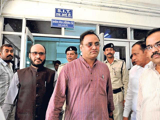 State-Congress-president-Arun-Yadav-comes-out-of-the-Special-Investigation-Team-office-after-submitting-documents-in-Bhopal-on-Wednesday-Mujeeb-Faruqui-HT-photo