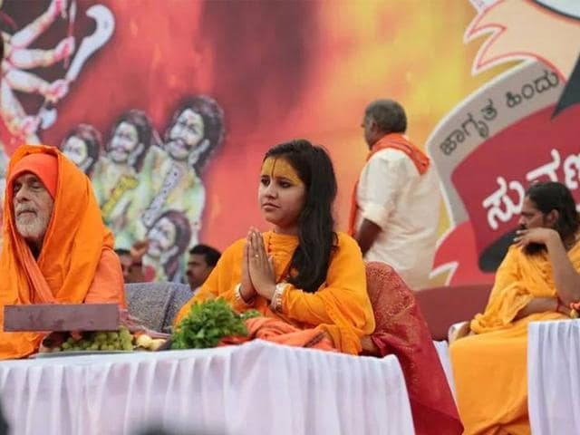 The-19-year-old-faces-an-FIR-which-was-lodged-against-her-in-Mangaluru-on-Friday-for-the-speech-she-delivered-at-a-programme-named-Hindu-Samajotsava-Photo-A-screenshot-of-Sadhvi-Balika-Saraswati-s-Facebook-profile