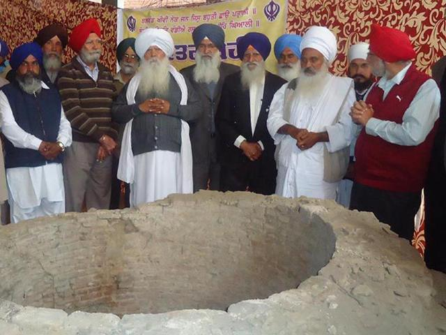 Environmentalist-Baba-Sewa-Singh-second-from-right-with-others-around-the-16th-century-well-in-the-basement-of-Mata-Khivi-Langar-Hall-at-Khadoor-Sahib-near-Tarn-Taran-on-Friday-HT-photo