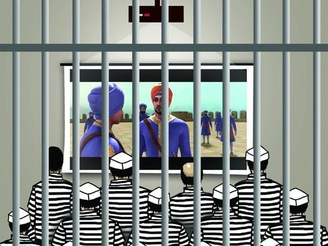 Illustration-Prisoners-enjoying--the-movie-Ravi-Prakash-HT