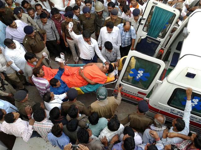 Ex-MLA-Vijay-Bahadur-Singh-Bundela-being-taken-to-a-hospital-on-Monday-HT-photo