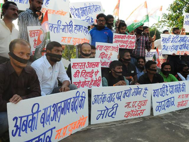 Youth-Congress-workers-stage-protest-in-Bhopal-on-Monday-Mujeeb-Faruqui-HT-photo