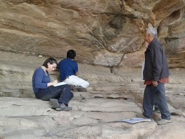 A-team-of-experts-from-Spain-and-rock-art-pundit-Narayan-Vyas-standing-inspect-the-Kathotiya-rock-art-site-HT-photo
