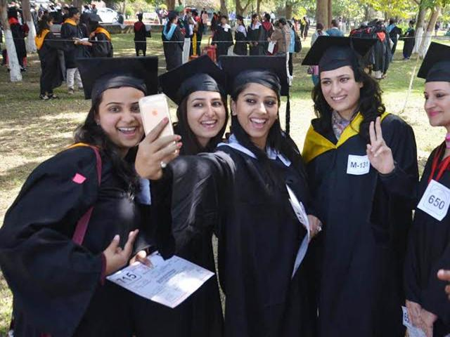 Students-take-Selfie-after-receiving-degree-at-the-41st-Annual-Convocation-of-the-Guru-Nanak-Dev-University-in-Amritsar-on-Wednesday-Sameer-Sehgal-HT