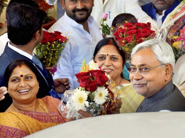 Bihar-chief-minister-Nitish-Kumar-is-greeted-by-party-legislators-during-the-first-day-of-Bihar-Assembly-s-Budget-session-in-Patna-on-Wednesday-PTI-Photo