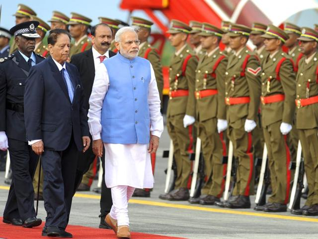 Prime-Minister-Narendra-Modi-inspecting-the-Guard-of-Honour-on-his-arrival-at-Sir-Seewoosagar-Ramgoolam-Airport-in-Mauritius-on-Wednesday-PTI-Photo