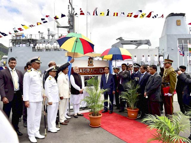 PM-Modi-at-the--commissioning-the-off-shore-patrol-vessel-in-Mauritius-PTI-Photo