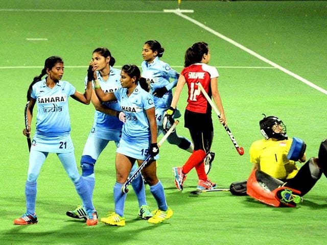 Poonam-Rani-15-celebrates-with-teammates-after-scoring-a-goal-against-Singapore-during-India-s-quarter-final-match-in-FIH-Women-s-Hockey-World-League-Round-2-PTI-Photo