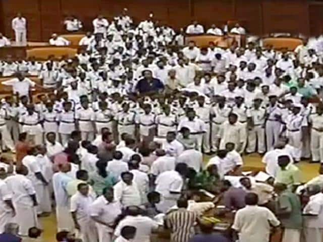 MLAs-belonging-to-the-LDF-climbed-on-top-of-tables-and-toppled-chairs-ANI-Photo