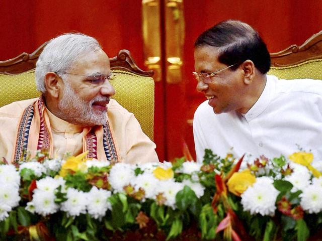 Prime-Minister-Narendra-Modi-with-Sri-Lankan-President-Maithripala-Sirisena-during-an-agreement-signing-ceremony-in-Colombo-PTI-photo