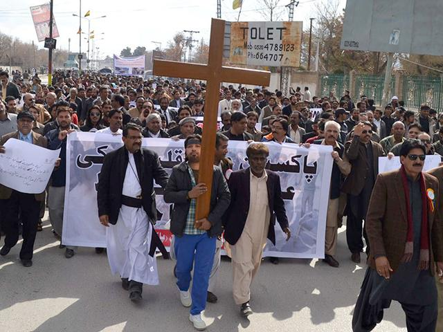 Pakistani-Christians-shout-slogans-during-a-protest-in-Quetta-on-March-16-against-suicide-bomb-attacks-on-churches-by-Taliban-militants-in-Lahore-Thousands-of-Christians-rioted-in-the-city-smashing-property-and-vehicles-as-they-clashed-with-police-in-a-second-day-of-protest-against-twin-Taliban-suicide-bombings-of-churches-that-killed-17-people-AFP-Photo