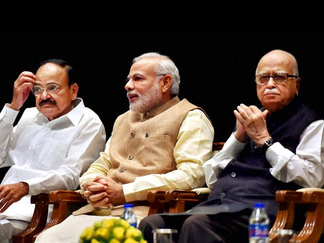 Prime-Minister-Narendra-Modi-Union-parliamentary-affairs-minister-Venkaiah-Naidu-and-veteran-BJP-leader-LK-Advani-during-a-BJP-parliamentary-board-meeting-in-New-Delhi-PTI-Photo