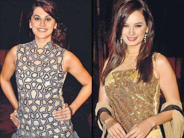 Taapsee Pannu, Evelyn Sharma at an event in Mumbai. (HT Photo)