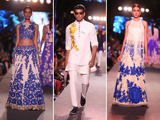 Models-walk-the-ramp-at-Manish-Malhotra-s-The-Blue-Runway-collection-at-the-Lakme-Fashion-Week-Spring-Resort-2015-edition-HT-Photo