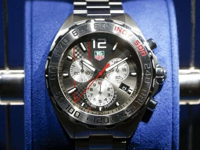 A-Formula-1-watch-of-Swiss-watch-manufacturer-TAG-Heuer-is-displayed-at-Baselworld-fair-in-Basel-Photo-Reuters