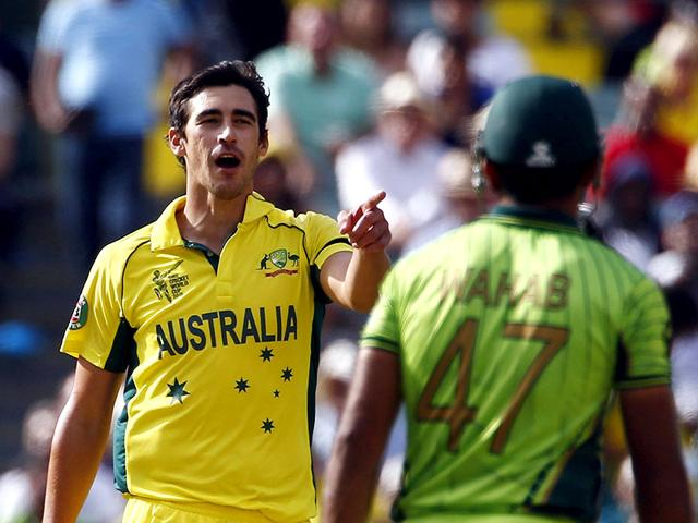 Australian-bowler-Mitchell-Starc-L-tries-to-get-under-the-skin-of-Pakistan-s-Wahab-Riaz-during-their-Cricket-World-Cup-quarter-final-in-Adelaide-Reuters-Photo