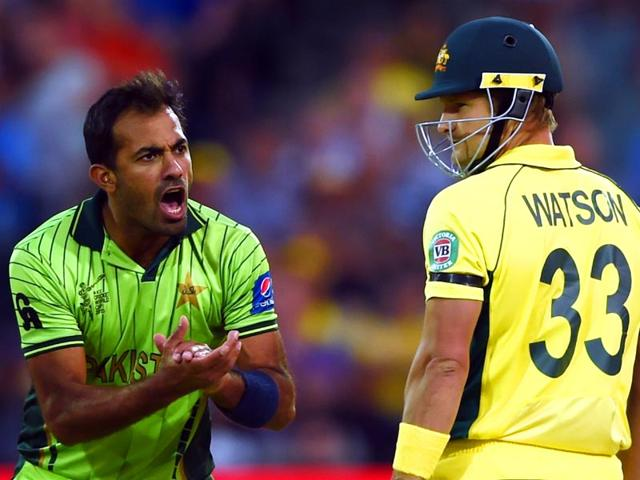 Australia-vs-Pakistan-live-Wahab-Riaz-reacts-after-bowling-to-Shane-Watson-during-the-2015-Cricket-World-Cup-quarter-final-match-between-Australia-and-Pakistan-in-Adelaide-AFP-PHOTO