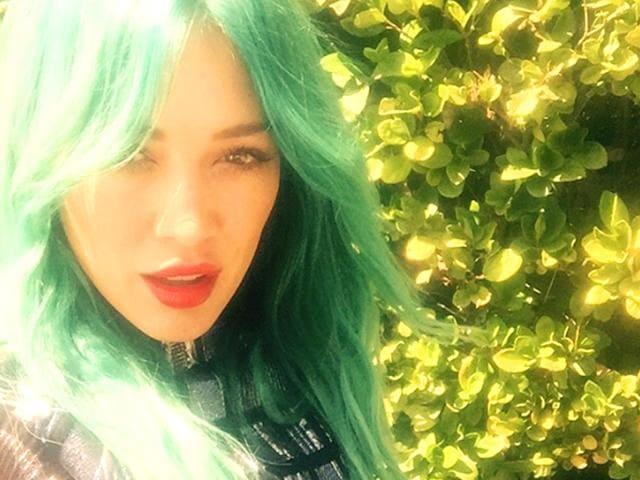 Hilary Duff,Blue hair colour,instagram