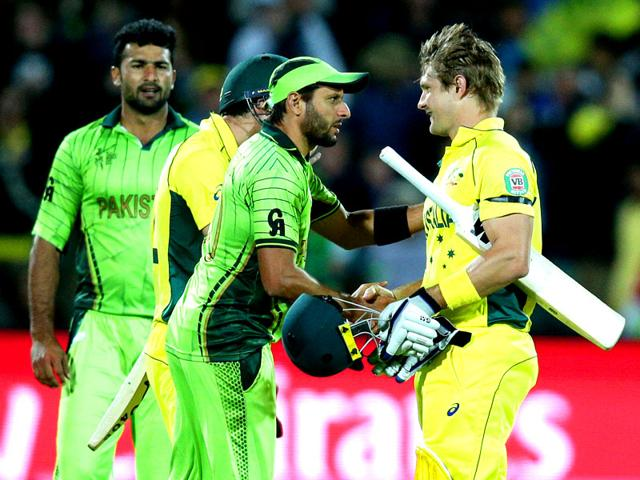 Shane-Watson-right-shakes-hands-with-Shahid-Afridi-following-quarter-final-match-in-Adelaide-Australia-defeated-Pakistan-by-six-wickets-AP-Photo