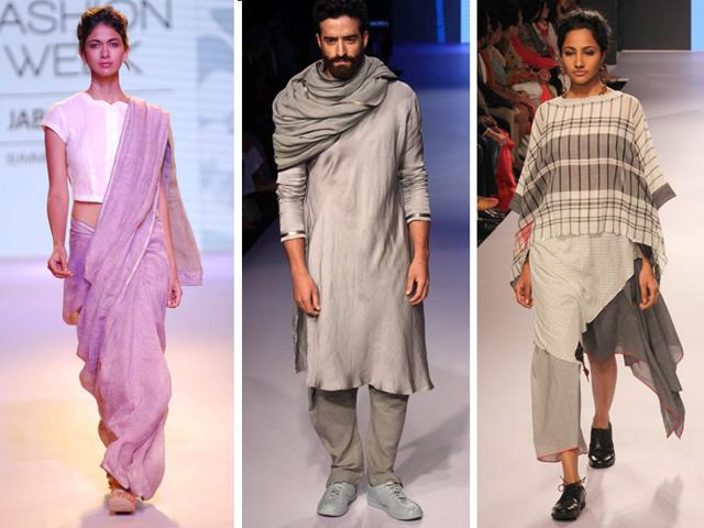 Models-walk-the-ramp-on-Day-2-of-LFW-left-to-right-An-Anavila-Mishra-creation-an-Antar-Agni-creation-and-a-Mayank-Anand-Shraddha-Nigam-design-HT-Photo-Prodip-Guha
